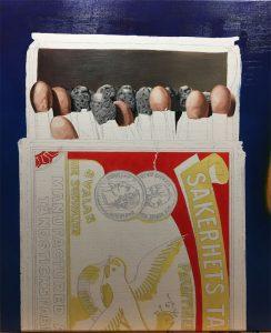 Eerste kleurlaag schiderij Zwaluw lucifers door Rob de Vries