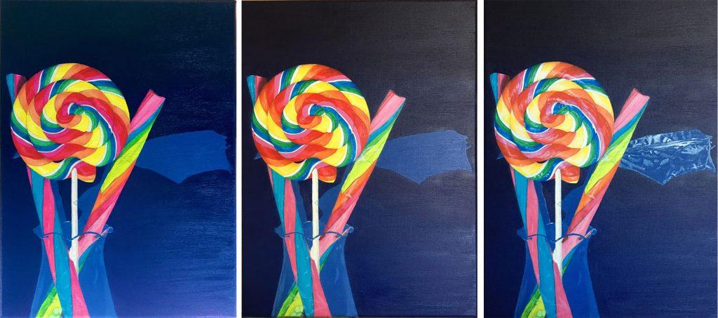 Work in progress schilderij lolly en zuurstokken