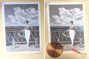 """Schilderij """"Uit het Familiealbum #1, Mien 1959"""" door Rob de Vries"""