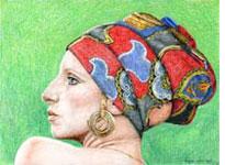 Portret Barbra Streisand, kleurpotlood, door Rob de Vries