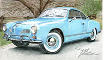 Volkswagen karmann ghia, kleurpotlood door Rob de Vries