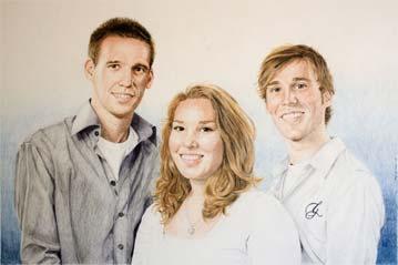Portret Ilse, Lars en Niels, kleurpotlood, door Rob de Vries