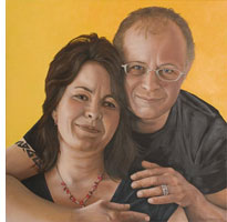 Portret Caroline & Rob, olieverf, door Rob de Vries