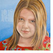 Portret Roos, olieverf, door Rob de Vries